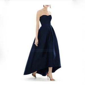 Alfred Sung Strapless High/Low Satin Twill Gown